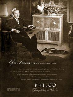 Bing Crosby ads for Philco & Fleers (1946) - Click Americana