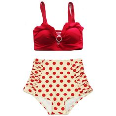 Red Top and Cream Red Polka Dot Dots Ruched High-Waist High Waisted... ($40) ❤ liked on Polyvore featuring swimwear, bikinis, bathing suits, beach, swim, silver, women's clothing, retro high waisted swimsuits, red bikini and retro high waisted bikini