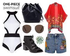 """LETS GO TO THE BEACH"" by avolorf on Polyvore featuring мода, Oye Swimwear, 275 Central, Topshop, MANGO, WithChic, Lacoste и onepieceswimsuit"