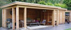 -30- Vrijstaande losstaande veranda overkapping poolhouse van lariks douglas hout met plat dak en EPDM dakbedekking
