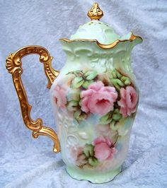 "Gorgeous Limoges France Hand Painted ""Peach Roses"" Chocolate Pot by the Artist, ""M. Turl"""