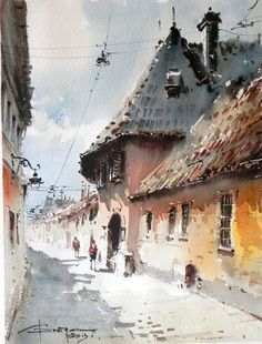 Corneliu Dragan-Targoviste ~ Romanian🎨 watercolors Artist 🎨 - Art And Beauty Watercolor City, Watercolor Sketch, Watercolor Artists, Watercolor Landscape, Watercolor Illustration, Landscape Paintings, Watercolor Paintings, Watercolors, Watercolor Architecture