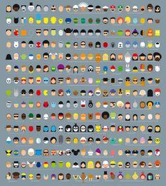 Minimalistic pop culture characters poster.