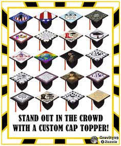 Graduation Cap Toppers -  Stand out in the crowd of graduates! Customize one of these Grad Cap Toppers - a fun keepsake from your big day! #Just4grad #Graduation #Gravityx9 #GraduationClass
