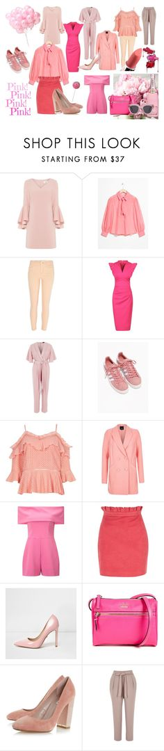 """Pretty in Pink - Pink Inspiration"" by salesavvyireland on Polyvore featuring Eliza J, Jolie Moi, adidas, Maybelline, Miss Selfridge and Kate Spade"