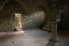 """""""This vaulted cellar was discovered in the middle of the courtyard of the Blandy les Tours castle during archeological searches. It is quite impressive and only lit by very small apertures."""" by Offrench"""