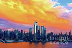 NYC Sundown Extravaganza I by Regina Geoghan Skyline Image, Ny Skyline, Manhattan Skyline, Colorful Clouds, One World Trade Center, Hudson River, Fine Art Photography, Sunrise, Nyc