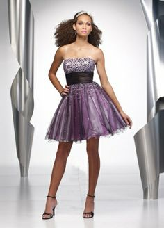 2011 Style A-line Strapless Beading  Sleeveless Short / Mini  Tulle  Cocktail Dress / Homecoming Dress #dress #freeshipping #MyeSoul #fashion