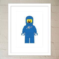 Benny the Blue Spaceman - Lego Minifig - Print - Nursery or Child's Room  - Instant Download