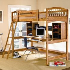 Add this lovely loft bunk bed to your child's bedroom for classic style and great function. The simply styled piece features clean lines, curved bed ends, and an included ladder for easy up and dow… Bunk Bed With Desk, Loft Bunk Beds, Modern Bunk Beds, Kids Bunk Beds, Bed With Desk Underneath, Murphy-bett Ikea, Bed Ikea, Adult Loft Bed, Curved Bed