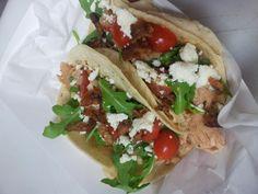 chicken tacos, local salsa fresca, arugula, queso fresco More