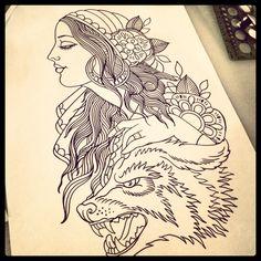 Gypsy lady & wolf tattoo