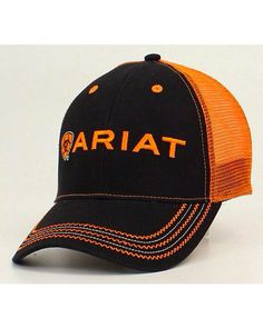 Ariat Rumblin Mesh Cap Ariat logo embroidery featured on front Black front  with Orange mesh on back Traditional baseball cap styling Vented eyelits on  hat ... 85204d09178