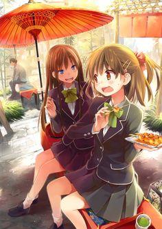 ✮ ANIME ART ✮ school uniform. . .blazer. . .pleated skirt. . .bow tie ribbon. . .friends. . .food. . .playful. . .parasol. . .cute. . .kawaii