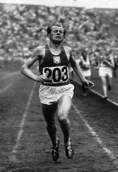 Emil Zátopek running with his usual grimace in the 1948 Olympics at Wembley Stadium in London. Credit: Gamma-Keystone / Getty Images