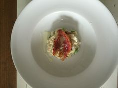 Risotto with Mascarpone, Spring Onions & Parmigiano Reggiano with on top of it a Red Mullit Fillet,