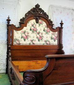 Victorian Carved Rosewood Bed - Signed Alexander Roux