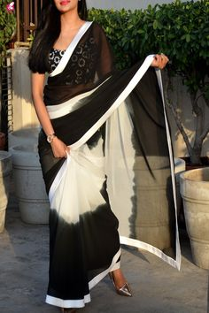 Buy Black & White Double Shaded Georgette Saree Online in India Indian Fashion Dresses, Indian Gowns Dresses, Indian Designer Outfits, Indian Outfits, Georgette Saree Party Wear, Georgette Sarees, Net Saree, Kurti, Trendy Sarees