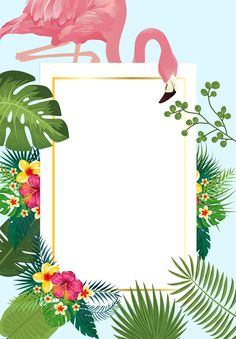 Pink flamingo with tropical palm leaves frame invitation card ideal for weddings or beach party Lace Wedding Invitations, Wedding Cards, Wedding Favors, Diy Wedding, Wedding Decorations, Baby Shower Invitation Cards, Invitation Card Birthday, Floral Invitation, Corporate Invitation