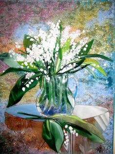 Lily-of-the-valley warm glass picture