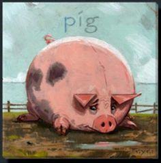 "Pig Painting by Darren Gygi Giclee 14 X 14"" Canvas Wall Art, DG204M"