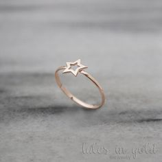 Heart Ring Rose Gold Valentines Day 14 Karat Gold Love Ring
