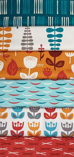Prettiest retro printed fabric.   Outside Oslo is now available! | How About Orange