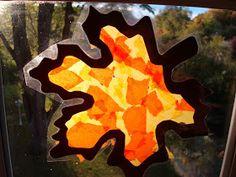 Heute bekommt Ihr von mir einen Basteltipp für kleine Kinder. Schöne Herbstfensterbilder. Ganz einfach.  Man braucht durchsichtige selbstkl...