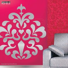 Etsy Wall decals MOD DAMASK Vinyl stickers interior decor by Decals Murals (34x30)