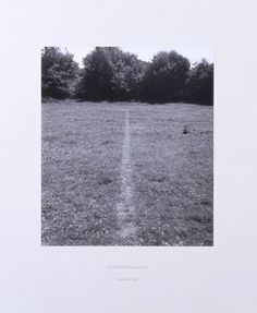 raveneuse:  Richard Long, A Line Made by Walking, 1967  This formative piece was made on one of Long's journeys to St Martin's from his home in Bristol. Between hitchhiking lifts, he stopped in a field in Wiltshire where he walked backwards and forwards until the flattened turf caught the sunlight and became visible as a line. He photographed this work, and recorded his physical interventions within the landscape. Although this artwork underplays the artist's corporeal presence, it ...