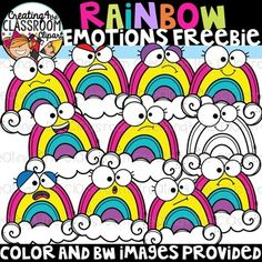 Rainbow Emotions Clipart Freebie {Creating4 the Classroom} Vibrant and whimsical Rainbow Emotions Clipart freebie is sure to add a  fun pop to all of your classroom resources! This clipart freebie  includes a total of 20 images (10 color and 10 in bw).