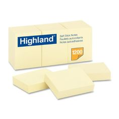 Highland 6539 Self-Stick Notes, 1-3/8-Inch by 1-7/8-Inch, Yellow, 100 Sheets per Pad (12 Pack)