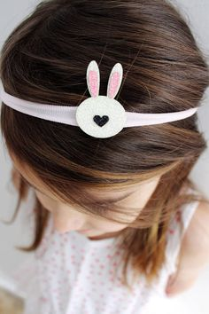 The cutest little glitter bunny on a super soft and stretchy nylon headband. This is sweet for any age! (Shown on my almost 5 year old)