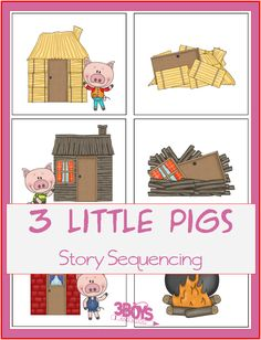what came first - 3 little pigs story sequence printables
