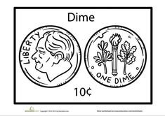 Meet the dime! He's a ten-cent piece that bears our president's image. Help get your child started on the road to coin recognition with this dime coloring page. Money Worksheets, Kindergarten Worksheets, Homework Center, Teaching Money, Cool Coloring Pages, 1st Grade Math, Parents As Teachers, Elementary Math, Math Lessons