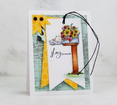 Stay in touch mailbox handmade card with Copic markers and patterned paper accents. Unity Stamps, Copic Markers, Svg Cuts, Mailbox, Hand Stamped, Cardmaking, Pattern Design, Paper Crafts, Touch
