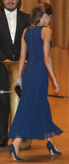 Queen Letizia - back- Peacock blue Felipe Varela dress - Nina Ricci Pumps - Tod's clutch - Cartier bracelets - Yanes earrings