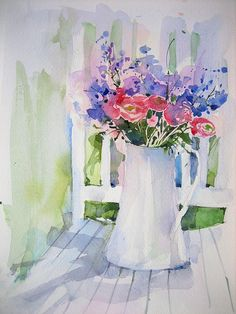 Anelest watercolor flowers in a white pitcher
