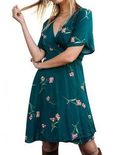 297ef1f56f6 Dresswel Women Short Sleeve Printed V Neck Cross Straps Party Beach Dress ---16.99