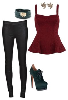 """Katherine Pierce Inspired Outfit"" by daniellakresovic ❤ liked on Polyvore featuring ISABEL BENENATO, Alaïa, River Island, Salvatore Ferragamo and Warehouse"