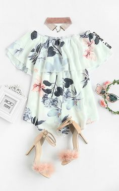 White Off The Shoulder Floral Jumpsuit With Choker