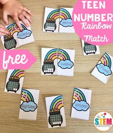A great way for kids to work on two-digit teen numbers, ten frames, and teen names. Perfect for kindergarten and PreK math centers this spring or St. Numbers Kindergarten, Kindergarten Centers, Learning Numbers, Math Centers, Activities For Teens, Spring Activities, Science Activities, Teen Numbers, Free Teen