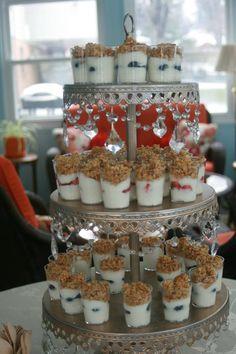 Yogurt parfait display ideas for a tasting party.