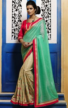 Picture of Trendy Sea Green and Beige Color Saree