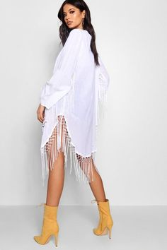 acd44909d214 Embroidered Kimono With Fringing