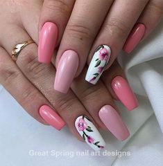 Sweet coffin pink nails accent casket floral nail f . Sweet coffin pink nails accent coffin floral nail for spring 2019 # feather nails … Pink Nail Art, Cute Acrylic Nails, Acrylic Nail Designs, Nail Art Designs, Nails Design, Pink Manicure, Nail Designs Floral, Acrylic Nails For Spring, Feather Nail Designs