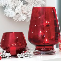 The elegant side of merry! Crimson Sparkle Votive Holder and Hurricane.  www.partylite.biz/loriscandleland