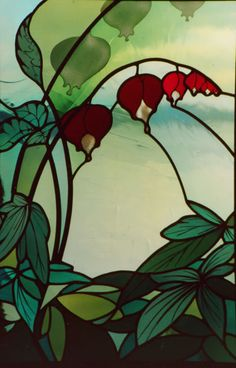 """Bleeding heart"" stained glass by the amazing Steven Wrubleski of Eidos Architectural Art Glass, Lopez Island, WA"