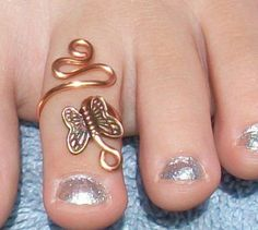 creative toe ring | Copper Swirl Butterfly Adjustable Toe Ring by circleinthewood