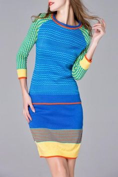 #AdoreWe #Dezzal Dezzal Zigzag Jumper Sweater With Skirt - AdoreWe.com